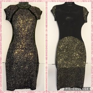 San Joy Sexy Bodycon Dress Large Sheer Gold